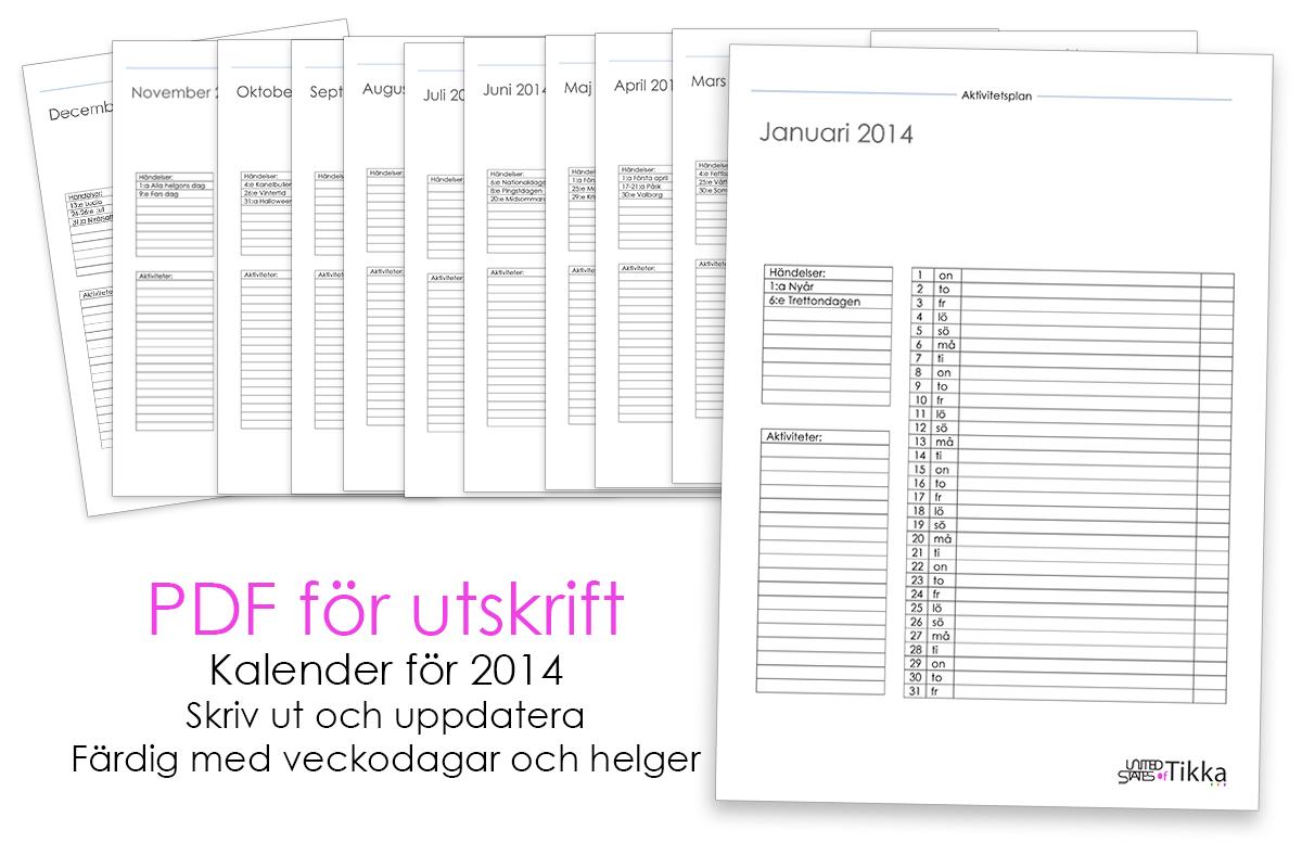 Kostnadsfri aktivitetsplan för 2014. PDF för utskrift